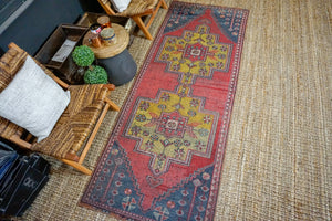 3'3 x 8'10 Vintage Turkish Oushak Runner Muted Red, Blue and Brass