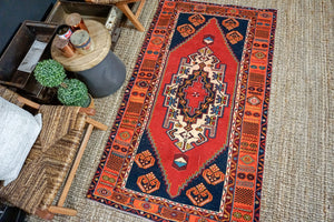 3'8 x 6'4 Oushak Rug Carrot, Blue and Red Vintage Turkish Carpet