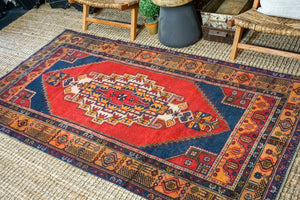 4'5 x 8'3 Oushak Rug Red, Blue and Melon Vintage Turkish Carpet