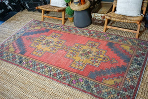 4'7 x 9' Oushak Rug Muted Red, Denim + Honey Vintage Turkish Carpet