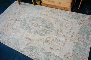 4'9 x 8'1 Vintage Turkish Oushak Rug Aubusson Design Blue and Beige