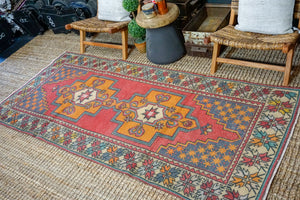 3'9 x 8'7 Oushak Rug Muted Red, Denim + Tangerine Vintage Turkish Carpet