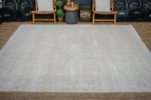 7'2 x 10'2 Vintage Oushak Rug Muted Beige and Green Carpet