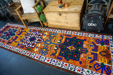 Load image into Gallery viewer, 3'3 x 10'11 Vintage Herki Runner Brown + Bright Colors