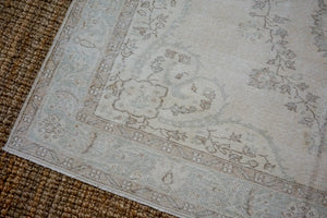 6'8 x 9'7 Vintage Oushak Rug Muted Sea Green & Beige Carpet