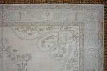 Load image into Gallery viewer, 6'8 x 9'7 Vintage Oushak Rug Muted Sea Green & Beige Carpet