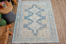 Load image into Gallery viewer, 3'8 x 5'1 Vintage Malayer Carpet Muted Denim Blues, Beige and Bronze
