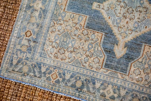 3'8 x 5'1 Vintage Malayer Carpet Muted Denim Blues, Beige and Bronze