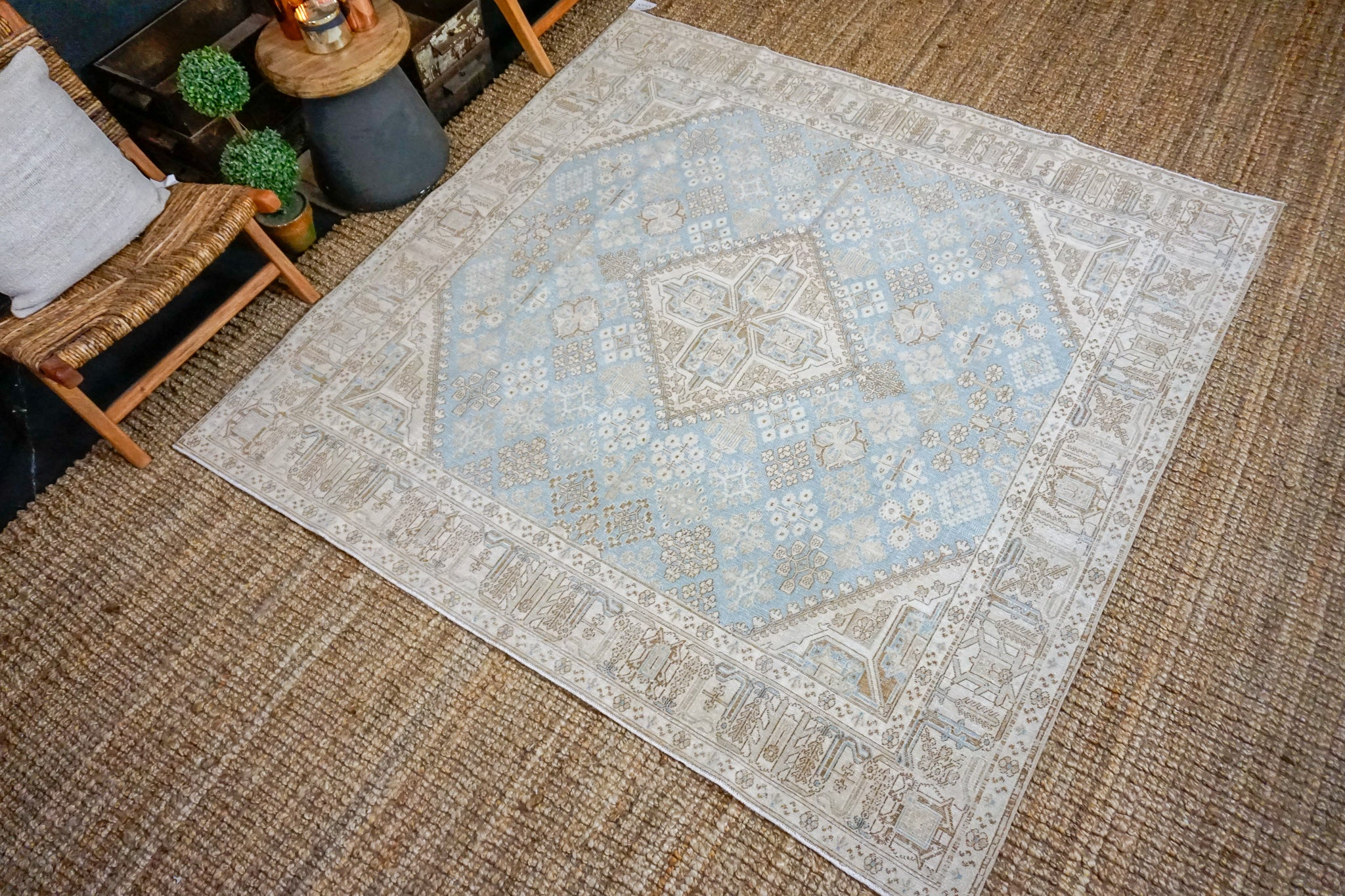 6'9 x 6'9 Classic Vintage Carpet Muted Light Blue, Beige + Brown Square Rug