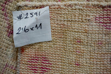 Load image into Gallery viewer, 2'6 x 11' Vintage Herki Runner Muted Pink + Cream