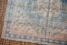 Load image into Gallery viewer, 4'7 x 7'8 Vintage Mahal Carpet Muted Blue, Green + Gray-Cream