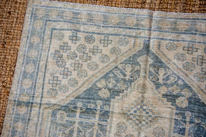 4'7 x 7'8 Vintage Mahal Carpet Muted Blue, Green + Gray-Cream