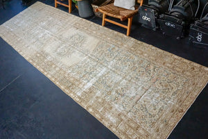 4'7 x 15'5 Long Classic Vintage Runner Muted Blue, Brown + Beige
