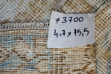 Load image into Gallery viewer, 4'7 x 15'5 Long Classic Vintage Runner Muted Blue, Brown + Beige