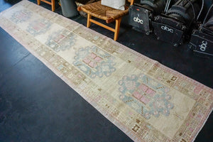 3' x 14'8 Long Vintage Malayer Runner Muted Beige, Blue and Pink
