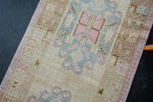 Load image into Gallery viewer, 3' x 14'8 Long Vintage Malayer Runner Muted Beige, Blue and Pink