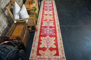 2'10 x 12'9 Vintage Oushak Runner Muted Red + Purple & Apricot