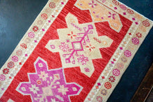 Load image into Gallery viewer, 2'10 x 12'9 Vintage Oushak Runner Muted Red + Purple & Apricot