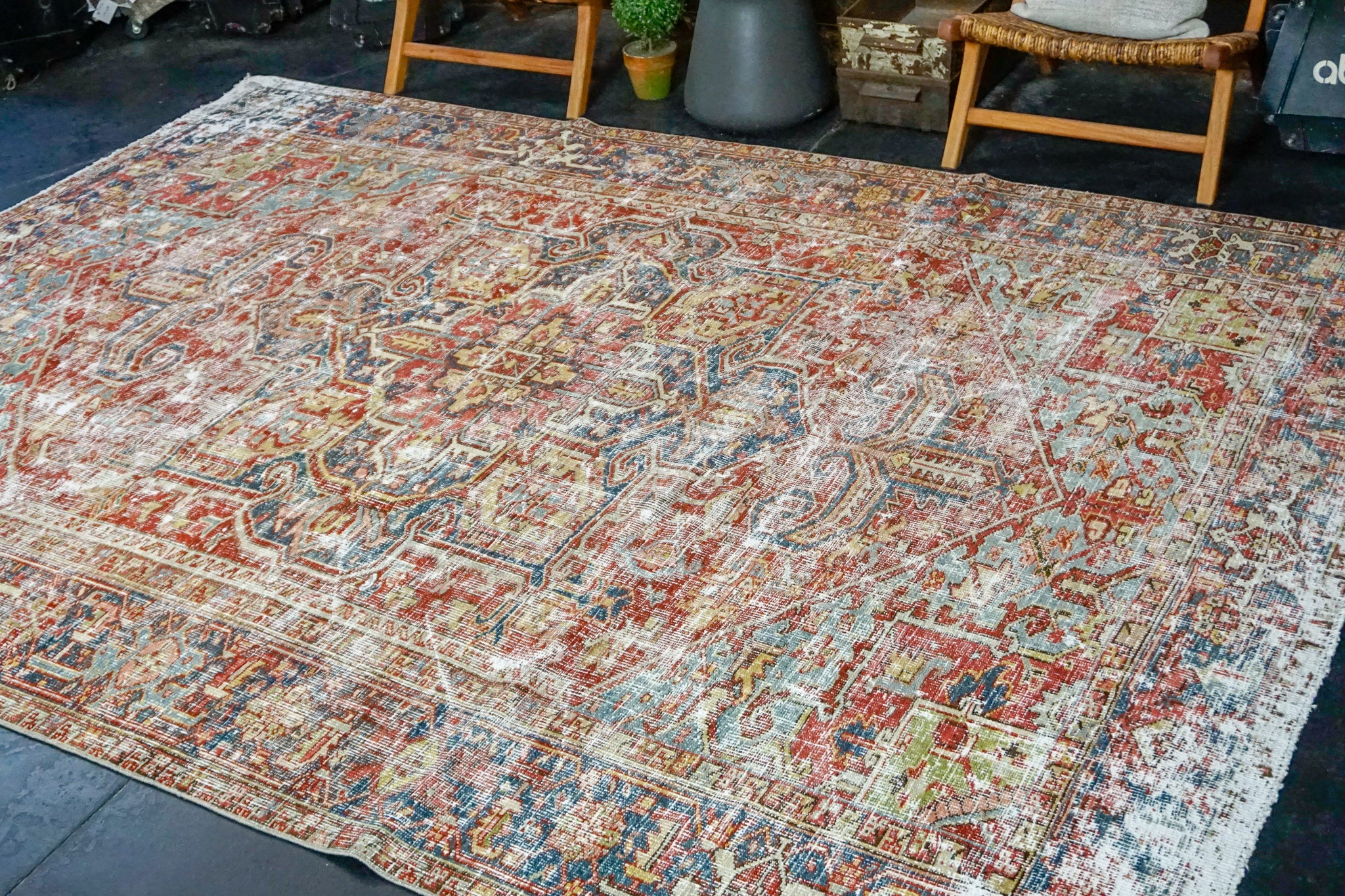 8'2 x 11' Classic Vintage Hamadan Rug Muted Red, Blue and Cream 60's Carpet