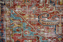 Load image into Gallery viewer, 8'2 x 11' Classic Vintage Hamadan Rug Muted Red, Blue and Cream 60's Carpet