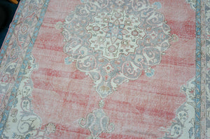 9'4 x 11'5 Classic Vintage Heriz Rug Muted Purple, Pink & Blue 60's Carpet