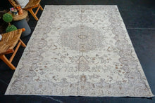 Load image into Gallery viewer, 6'6 x 10'3 Vintage Oushak Rug Muted Violet, Beige and Brown Carpet