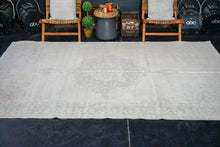 Load image into Gallery viewer, 6'8 x 10'9 Vintage Oushak Rug Light Beige + Muted Sage Green Carpet
