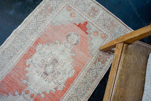 3' x 10'3 Vintage Turkish Runner Muted Coral Red, Beige & Taupe