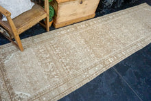 Load image into Gallery viewer, 3'3 x 12'8 Vintage Hamadan Runner Light Brown, Cream and Green