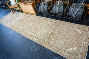 3'3 x 12'8 Vintage Hamadan Runner Light Brown, Cream and Green