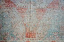 "Load image into Gallery viewer, 4'1"" x 7' Oushak Rug Coral, Turquoise and Sand Beige"