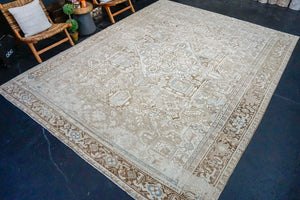 Hold for EGD til 5/15*10' x 12' 5 Vintage Persian Kashan Linen-Beige and Blue