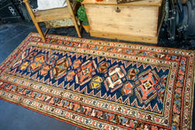 Load image into Gallery viewer, 3'8 x 7'5 Vintage Caucasian Rug Blues and Reds