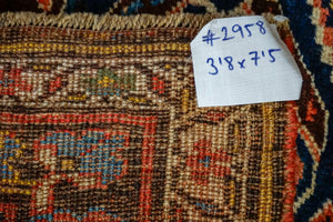 3'8 x 7'5 Vintage Caucasian Rug Blues and Reds