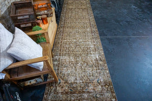 3'3 x 12'7 Persian Runner Brown, Olive &  Pale Peach
