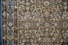Load image into Gallery viewer, 3'3 x 12'7 Persian Runner Brown, Olive &  Pale Peach