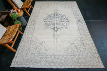 "Load image into Gallery viewer, 6'6"" x 11' Vintage Oushak Rug Muted Navy Blue, Gray + Beige Carpet"