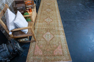 3'6 x 13'9 Persian Malayer Runner Camel and Blush Pink