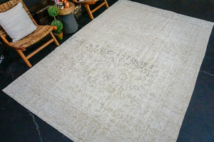 7' x 11' Vintage Oushak Rug Beige & Brown All Over Design Carpet