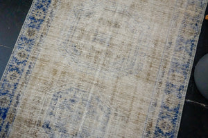 4'6 x 11'9 Vintage Oushak Runner Muted Navy Blue and Clay-Gray