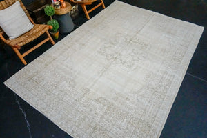 6'10 x 10'5 Vintage Oushak Rug Muted Beige and Gray Carpet