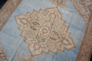 9'4 x 13'1 Classic Vintage Rug Muted Denim Blue, Brown + Beige Carpet