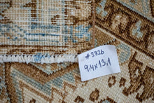 Load image into Gallery viewer, 9'4 x 13'1 Classic Vintage Rug Muted Denim Blue, Brown + Beige Carpet