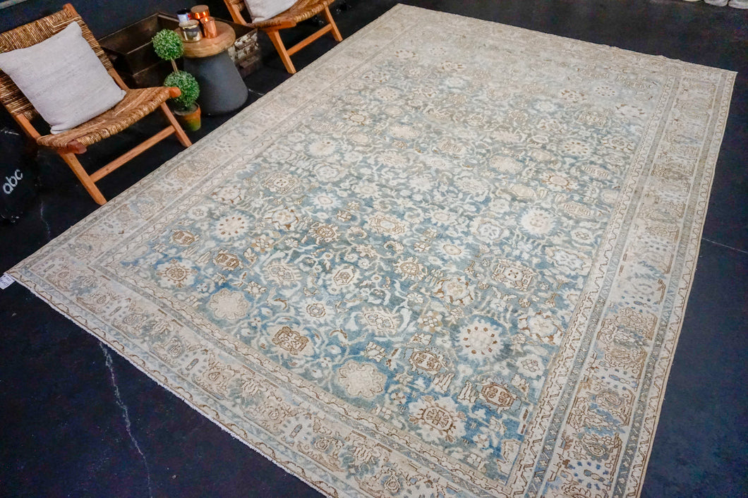 8'10 x 12'3 Classic Vintage Rug Muted Blue, Brown + Beige Carpet