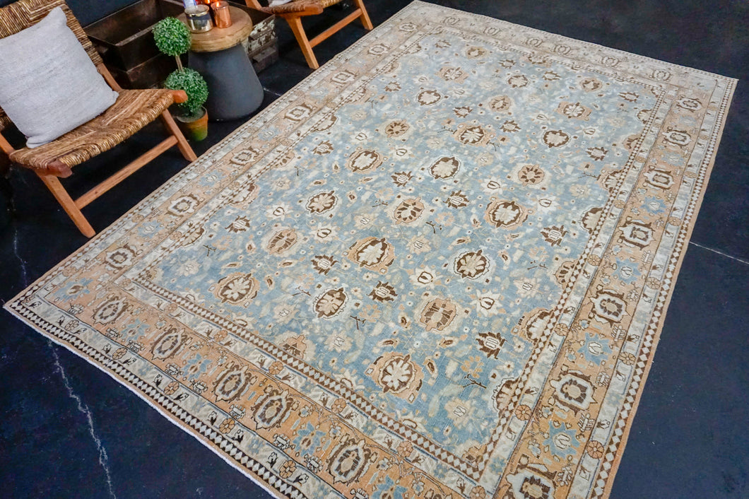 7' x 10'7 Classic Vintage Rug Muted Blue, Cream + Terra Cotta Carpet