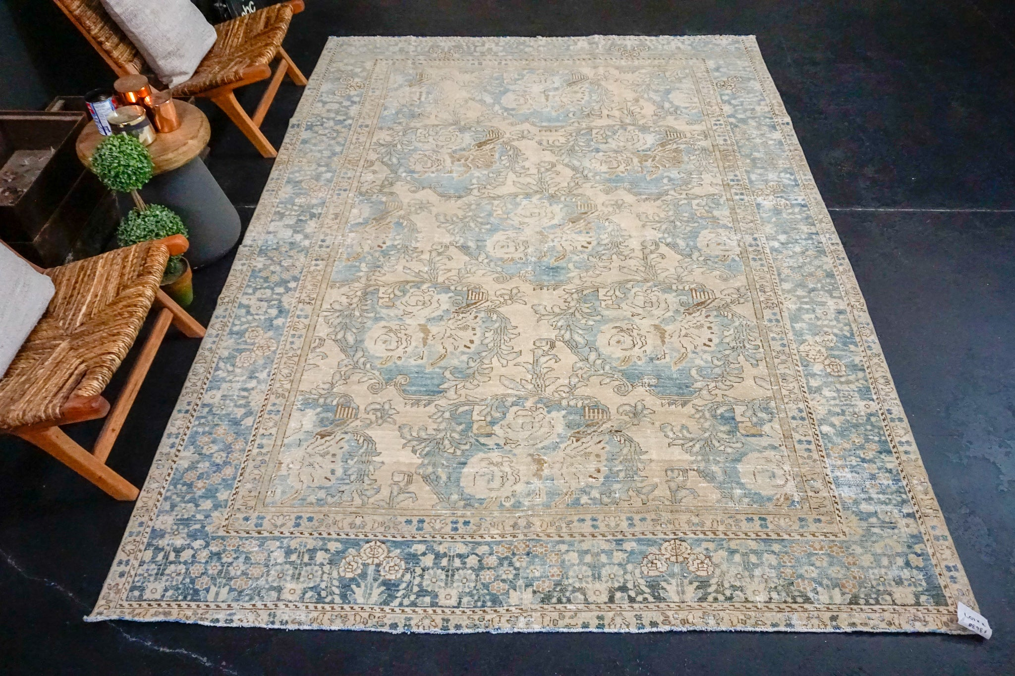 7' x 10'1 Classic Vintage Rug Muted Blue + Blush-Beige Carpet