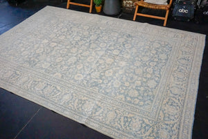 "Sold 6/10*7'8"" x 11' Vintage Persian Tabriz Sea Blue Overdyed Carpet 70's"