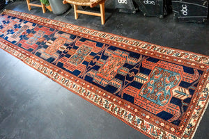 Sold 2/22*3'2 x 16'4 Classic Vintage Runner Navy Blue and Red
