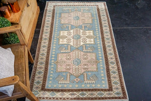 3'6 x 5'9 Turkish Oushak Rug 1960's Baby Blue, Cream + Pink