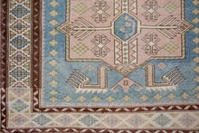 Load image into Gallery viewer, 3'6 x 5'9 Turkish Oushak Rug 1960's Baby Blue, Cream + Pink